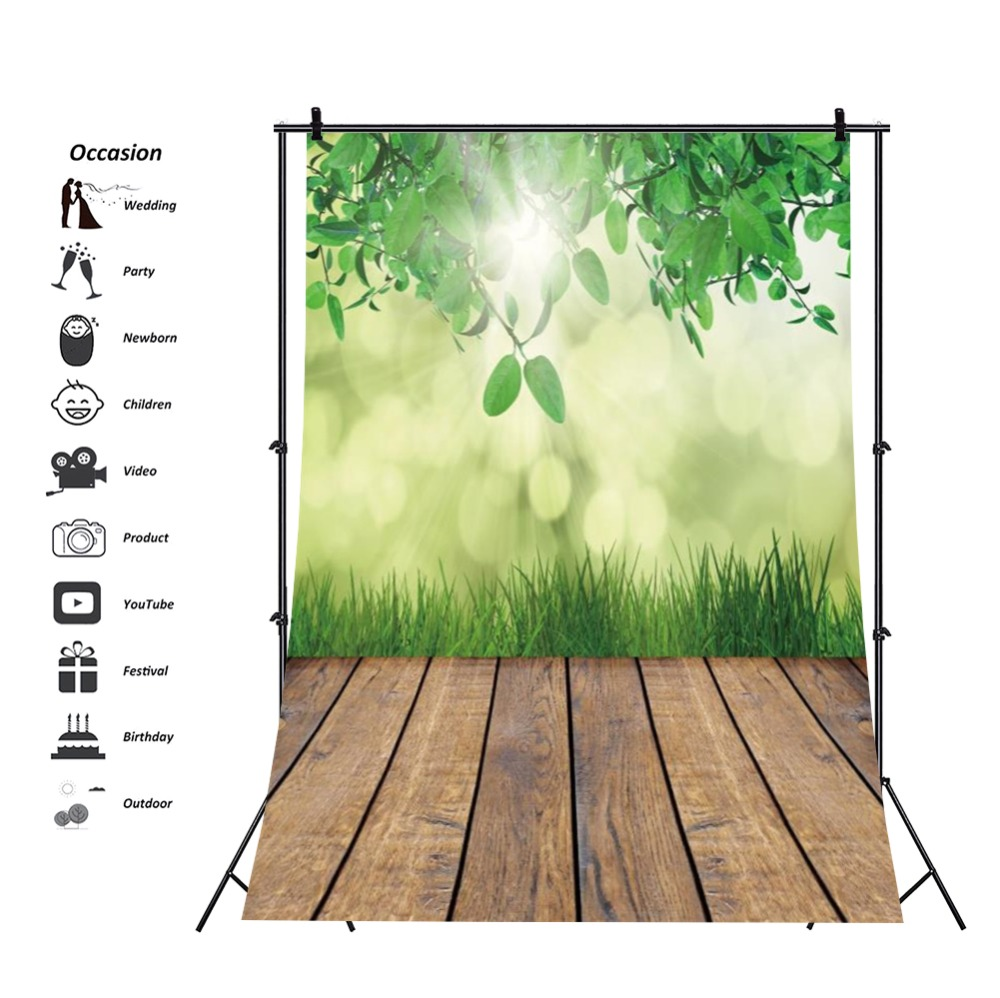 Laeacco Spring Green Leaves Light Bokeh Wooden Floor Photography Background Customized Photographic Backdrop For Photo Studio in Background from Consumer Electronics
