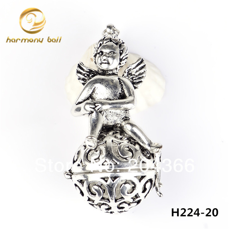 H224 20 Harmony Ball Jewelry 20 18mm Silver Mexican Bola Floating Locket Angel Pendant For font
