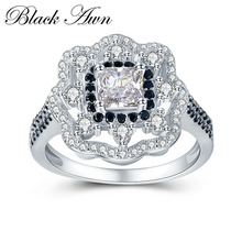 BLACK AWN Flower Wedding Rings for Women 4 3g 925 Sterling Silver Jewelry Engagement Ring