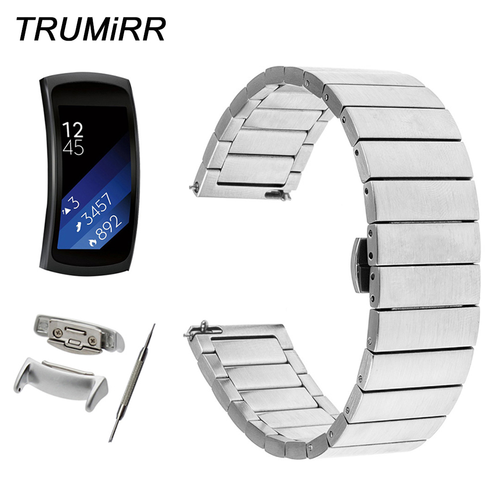 Quick Release Stainless Steel Watch Band + Adapters + Tool for Samsung Gear Fit 2 SM-R360 Butterfly Buckle Strap Wrist Bracelet цена 2017