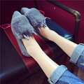 Female Rabbit Fur Flats 2017 Autumn And Winter Flat Heel Moccasins Rabbit Ears Shoes Pointed Toe Lady Loafers