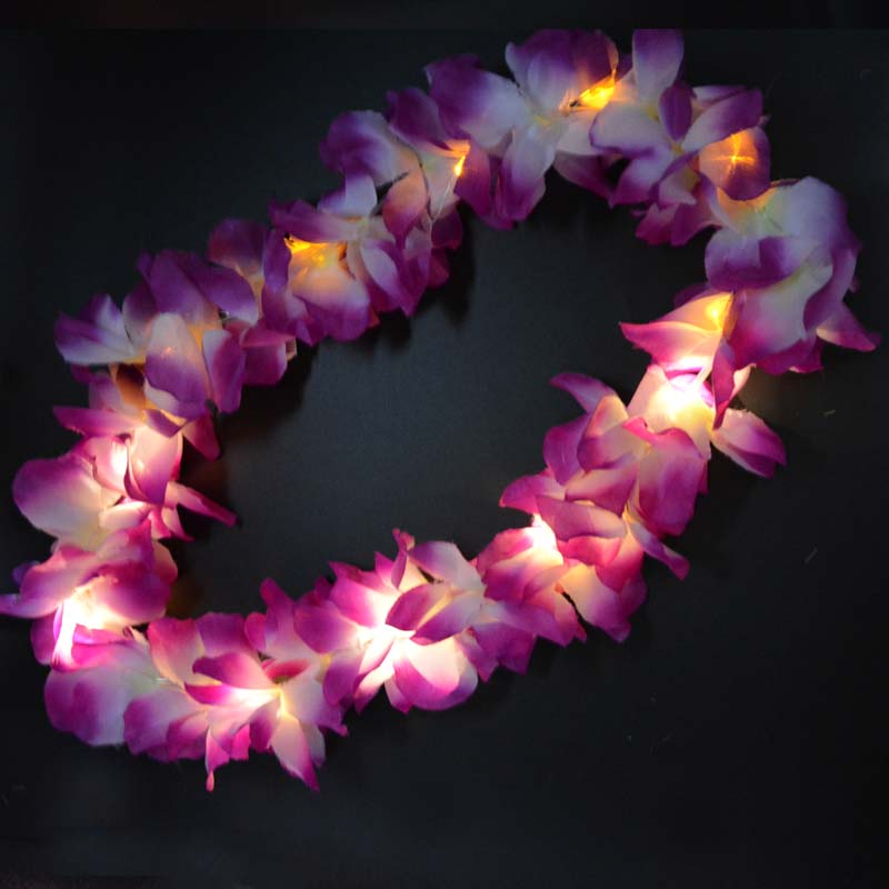 Light Up Glow Hawaii Hula Luau Flower Leis Ghirlanda Collana Floral Wreath Donna Ragazza Compleanno Rave Neon LED Wedding Party