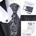 2016 Nuevos Calientes del Mens Corbatas De Seda Negro Novedad Corbata Hanky Gemelos Caja de regalo Bolsa de Conjuntos B-1082 Lazos Para Los Hombres de Negocios de La Boda Del Partido