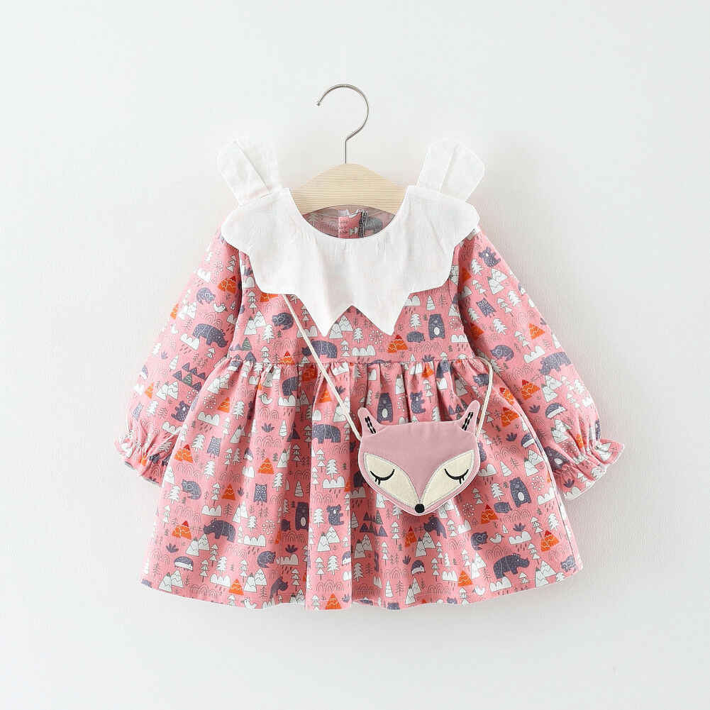 2019 סתיו ילדה שמלת כותנה ארוך שרוול ילדי שמלות ילדים שמלות בנות אופנה בנות בגדים