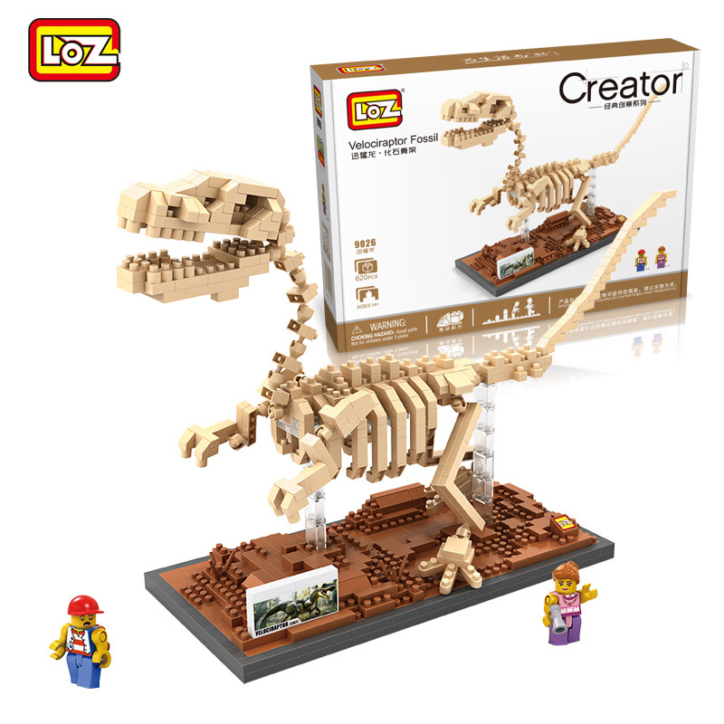 Hot LOZ Jurassic World Park Dinosaur Fossil Series Raptor skeleton Building Blocks Sets Bricks Model Kids Educational Toys