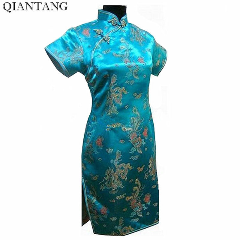 Light Blue Vintage Chinese Style Cheongsam Mujer Vestido Noble Women's Mini Qipao Dress Size S M L XL XXL XXXL 4XL 5XL 6XL J4062