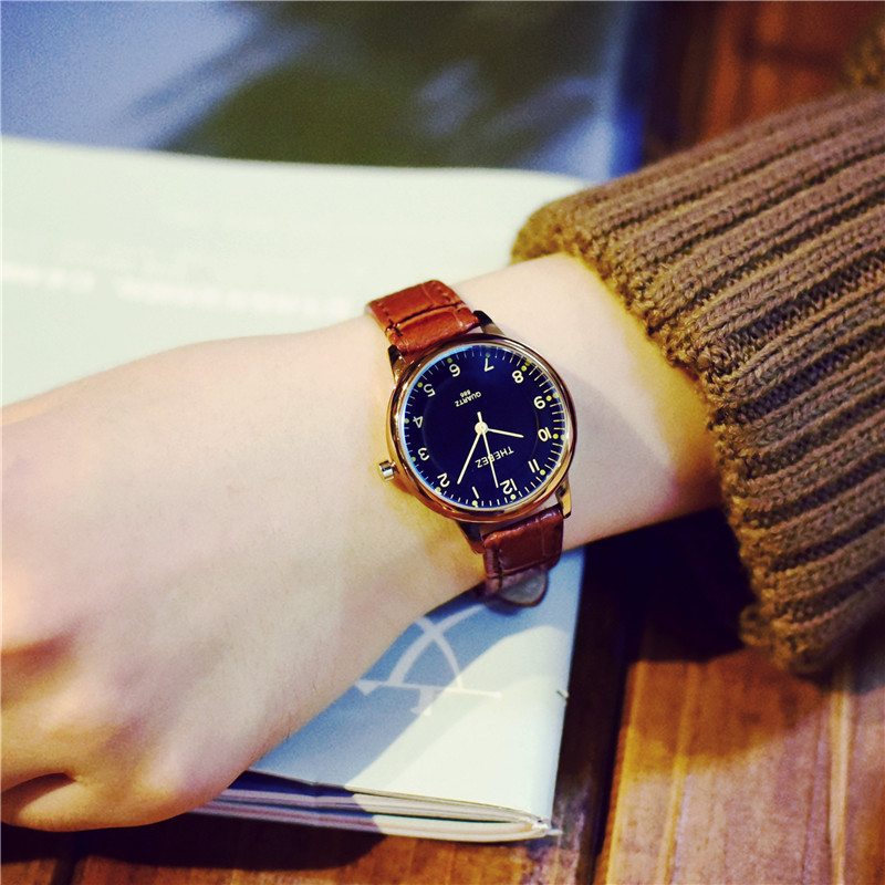 Vintage Classic Small Dial Thin Leather Strap Quartz Wristwatches Wrist Watch for Women Ladies Female Black Brown OP001 cute rose gold crystal flower thin strap small dial leather quartz women ladies wristwatches wrist watch gift