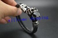 Einzigartigen Skeleton Schädel und Eule Metall Charme Zwei Schicht Schwarz Woven Braid Echtes Leder Cool Man Armband Freies Verschiffen