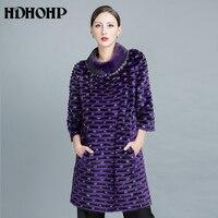 HDHOHP 2017 New Winter Women Fur Coats Real Mink Fur Coats Genuine Leather Fur Jacket Warm