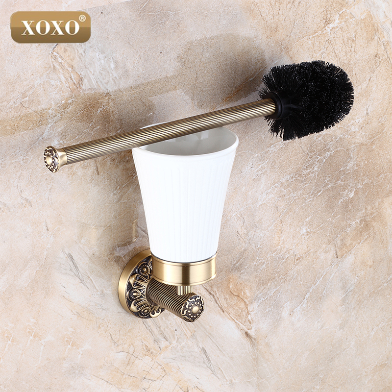 XOXO High-end Carving Wall Mounted Toilet Cleaning Brush Antique Brass Toilet Brush Holder 15081B high end carving wall mounted toilet cleaning brush brass toilet brush holder free shipping wholesale and retail fe 8610