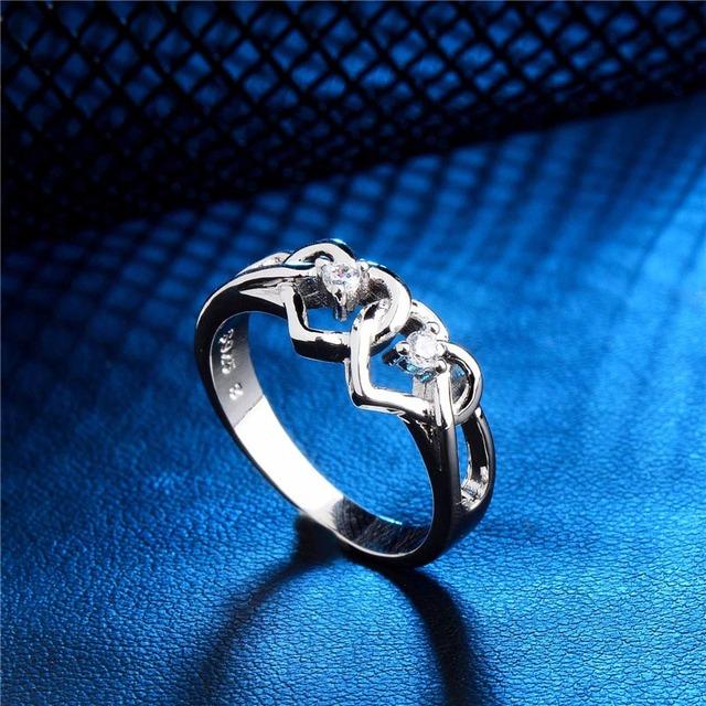 Cubic Zircon Heart Shaped Silver Ring