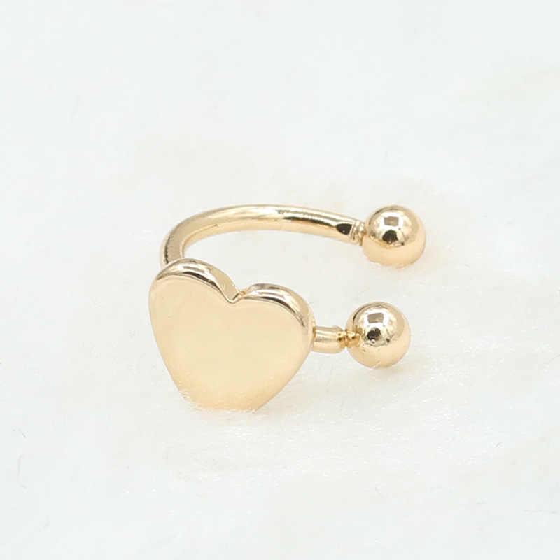 1 ud. Pendientes a la moda dorado pequeño de cobre plateado con forma de trébol de Luna estrella corazón triángulo sin perforaciones pendientes para mujer Brincos Bijoux R016