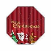 산타 클로스 순록 테마 사용자 정의 우산 방수 태양 비 100% 직물 알루미늄 고품질 접이식 우산