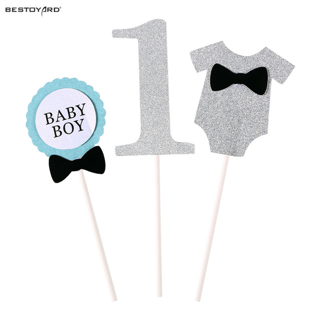 Cake Topper Flag Baby Boy 1 Year Old Age Happy Birthday Cake Topper