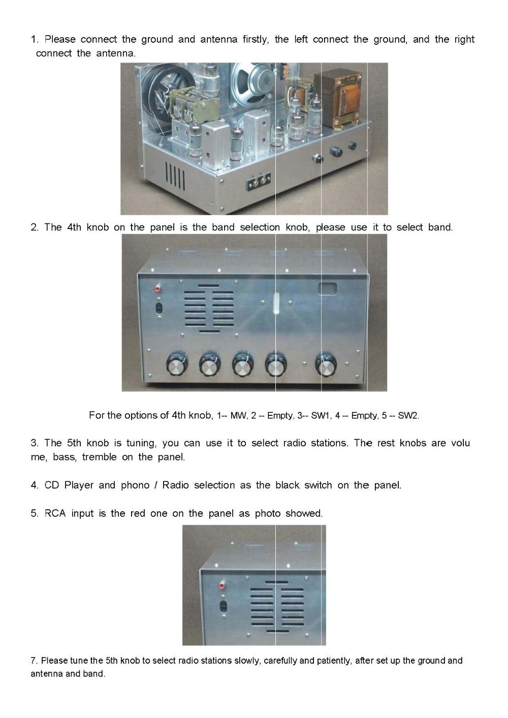 Simple instructions for use the radio