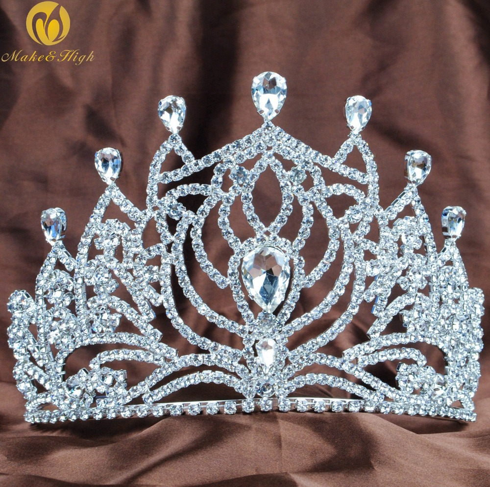 """18cm Wide Large Flower Crytal Wedding Bridal Party Pageant Prom Tiara Crown 7/"""""""