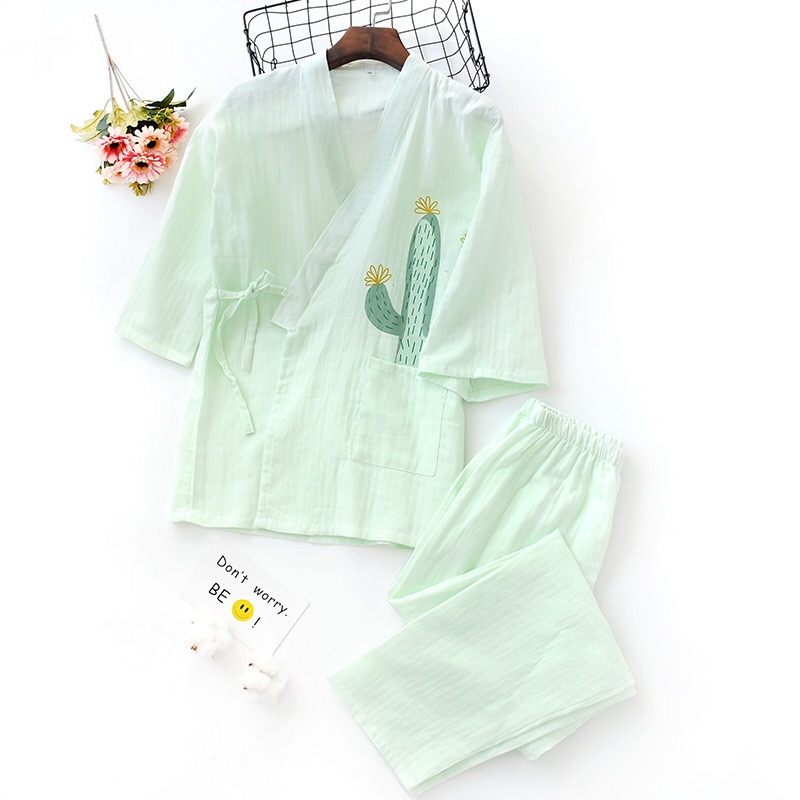 Summer fresh cactus kimono robes womens 100% gauze cotton simple japanese   pajamas     sets   ladies yukata night suit women