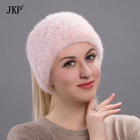2018New quality Winter New Mink Scarf Women Real Mink Fur Hat Knitted Mink Fur Headband Muffler Ring Russian Elastic Neckerchief