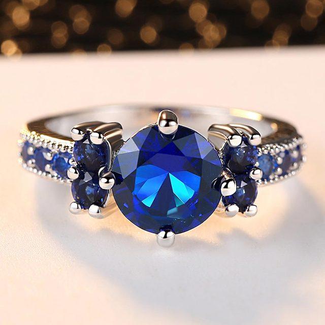 Violet/rouge/vert/bleu rond AAAA + zircone réel 10 KT Rhodium rempli anneau femmes Bijoux fins Bijoux CZ bague de mariage