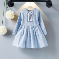 Children's Clothes 2017 Autumn&Spring Little Fresh Princess Dress Embroidered Round Neck Striped Long-sleeved Girls Dresses