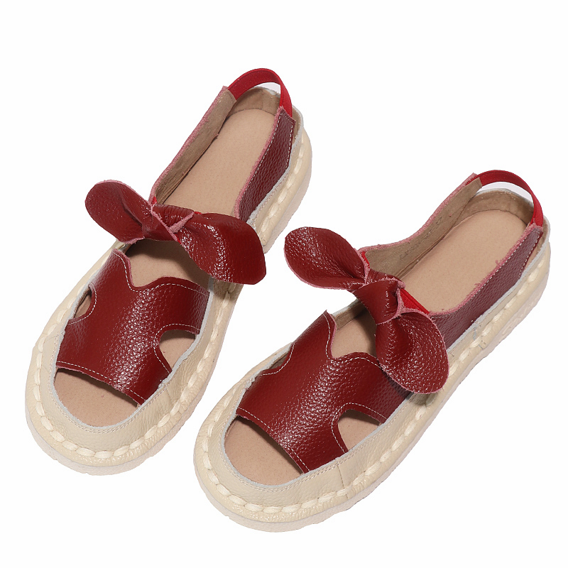 HUIFENGAZURRCS Cowhide soft sole hollow shoes Literature Art Korean flat sole pregnant women 39 s shoes Roman comfortable sandals in Women 39 s Flats from Shoes