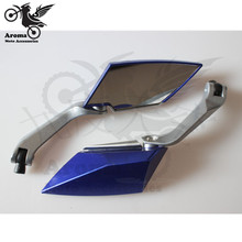 hot sell Metal Aluminum CNC blue motorcycle Accessories for honda moto rear view mirrors Universal motorcycle rearview mirror mz universal motorcycle aluminium diamond cnc rearview anti glare mirrors silver blue