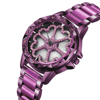 elegant women's flower crystal watches 259 model watches with japan movement stainless steel band watches lady reloj female