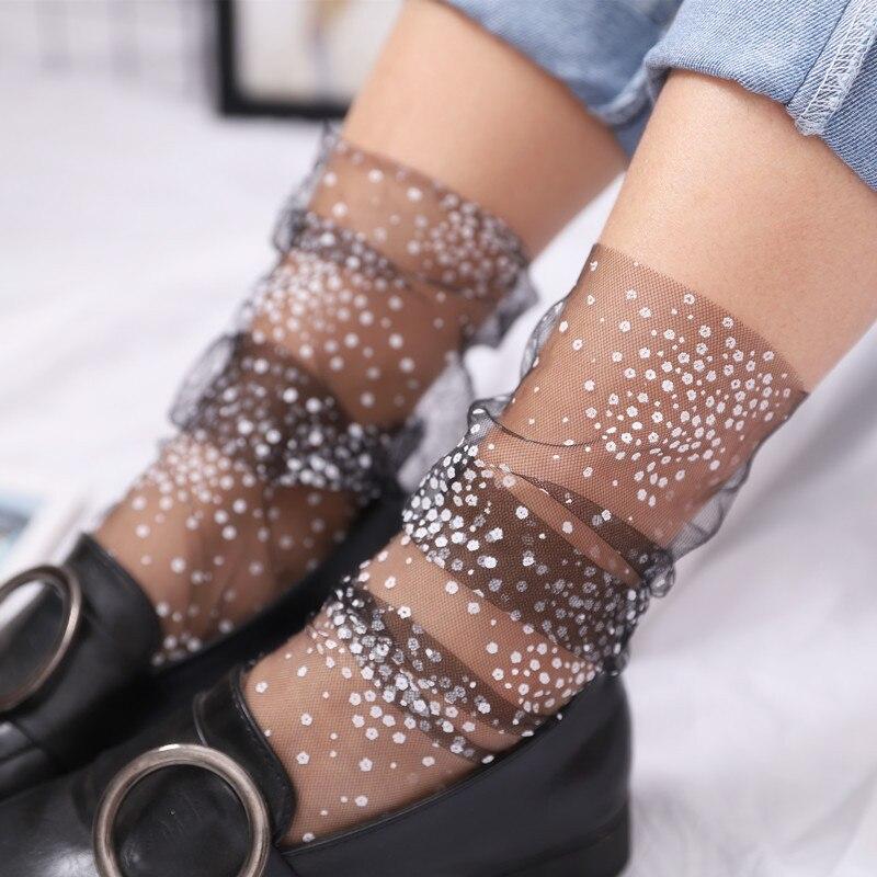 Sexy Lace Mesh Fishnet Socks Mixed Fiber Transparent Stretch Elasticity Ankle Net Yarn Thin Women Cool Socks 1pair=2pcs Slu08
