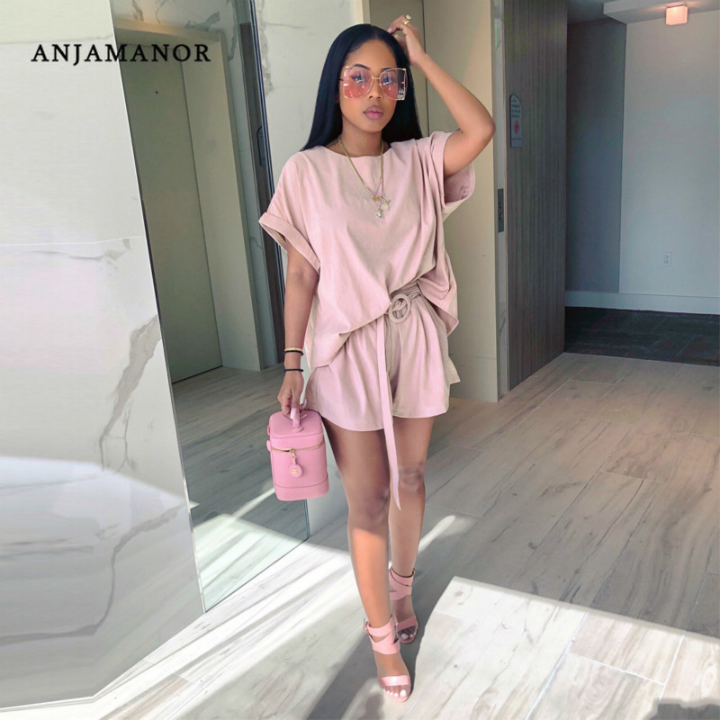 ANJAMANOR Sexy Casual Loose Two Piece Set Top And Short Pants Pink Outfits 2019 Summer Clothes For Women Matching Sets D35-AE73