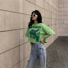 Funny crocodile swamp water letter print top tees 2019 vogue short sleeve kawaii summer women t shirt harajuku korean new