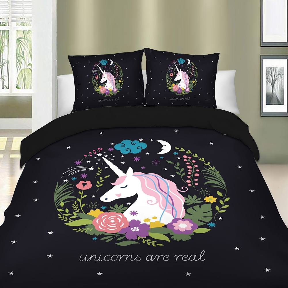 c5185cea2702 Cute Unicorn Bedding Set Cartoon Duvet Cover Twin Full Queen King Size 3PCS  BedclothesUSD 32.55-55.79 set