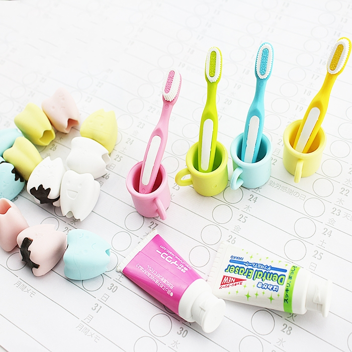 Gomas De Borrar Lovely Koubei Expression Of Toothpaste Tooth Brush Teeth Eraser/removable Rubber Polishing K6810