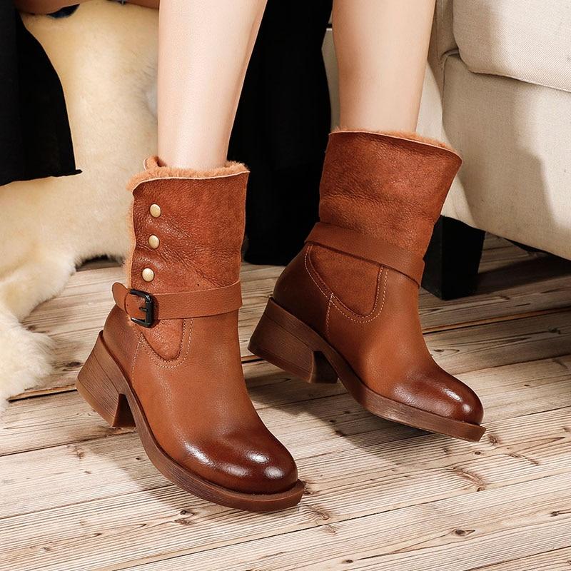 VALLU 2018 Chaussures D'hiver Dames bottes de neige Ronde Orteils Boucle En Cuir Véritable Doux Confort chaussures femme Femmes Cheville bottes chaudes