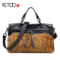 AETOO New first layer of leather rabbit fur motorcycle bag texture zipper leather shoulder strap ladies handbag