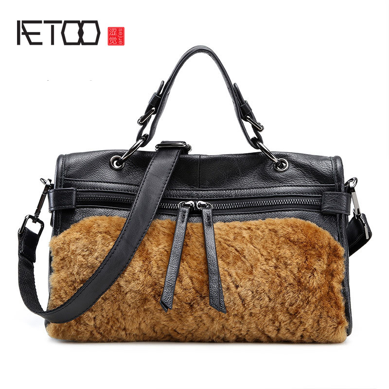 AETOO New first layer of leather rabbit fur motorcycle bag texture zipper leather shoulder strap ladies handbag aetoo first layer of leather korean version of the tide ladies oil wax leather handbag ladies shoulder messenger bag