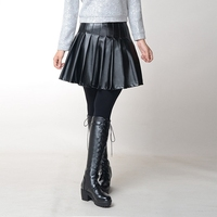 Fat Beauty size plus Enlarge pleated Skirt Show Thin Fashion PU skirt 26232