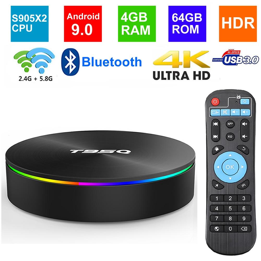 T95Q Android 9.0 Smart TV BOX Amlogic S905X2 Quad core 4GB RAM 64G ROM BT4.1 USB3.0 2.4G/5G Dual WIFI 3D 4K HDR Set Top Box