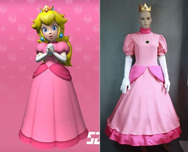 Super mario princess peach pink cosplay costume halloween for Princess peach wedding dress