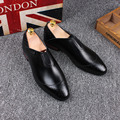Tidog Men's leather shoes breathable British business shoes casual loafer shoes