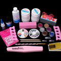 Pro Full Nail Files Kit Acrylic Glitter Powder Glue French Nail Art UV Gel Tips Set #168