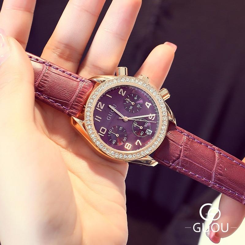AAA GUOU Luxury Fashion Women Dress Watch Genuine Leather Crystal Calendar Glitter 3 Eyes Wristwatch Watch For Ladies Female