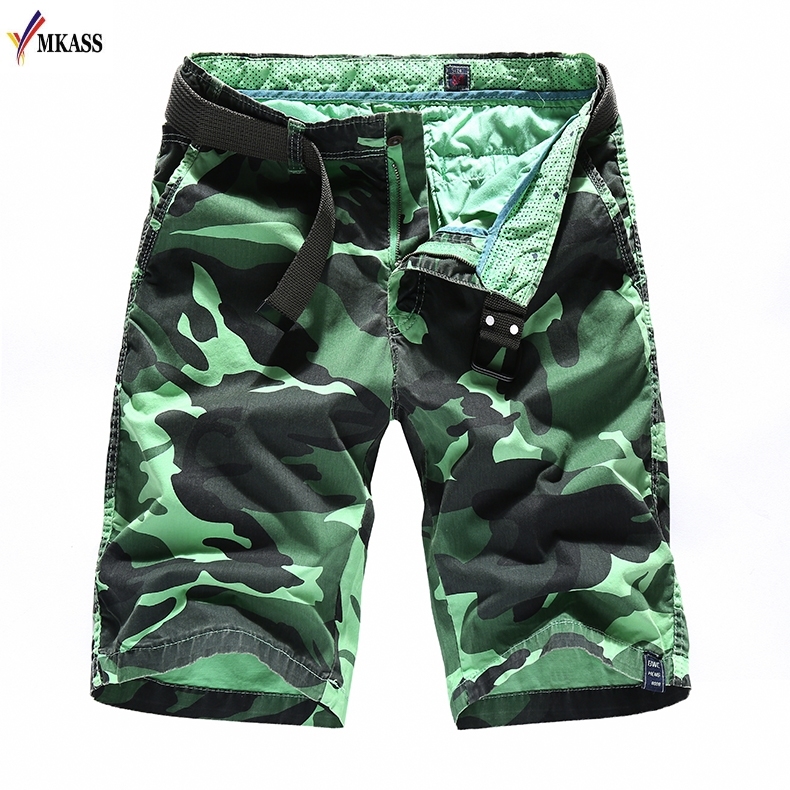Mens Summer Cargo Shorts Brand Fashion Camouflage Military Trunks French Terry Cotton Casual Hip Hop Male Cool Short Homme