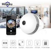Bulb Wireless IP Camera Wi Fi FishEye 960P 360 Degree Wide Angle White IR Led CCTV