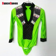 Men/Boy Latin Dance Top Green/White/Rose Male Ballroom Dance Shirt Spandex&Bright Drill Clothing For Ballroom Dancing DQ6043