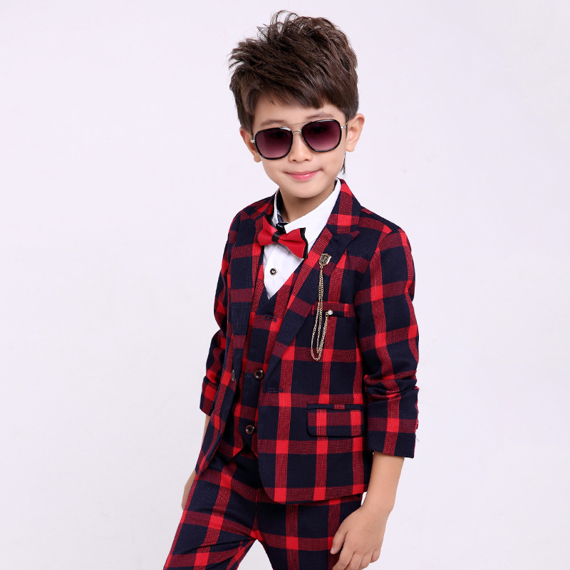 Boys Plaid Suits Boys Wedding Dress 3 Pieces Tuxedo Suit for Kids Boys Blazer Suit Children Clothes student performance clothes children clothing sets boys blazers wedding sets pieces boys tuxedo suits