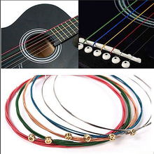 цены 6Pcs/Set Acoustic Guitar Strings Rainbow Colorful Guitar Strings E-A For Acoustic Folk Guitar Classic Guitar Multi Color Guitar