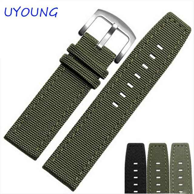 Venta caliente 22mm Nylon Correa de Reloj de Cuero Genuino Negro verde del ejército Reloj Correa de accesorios