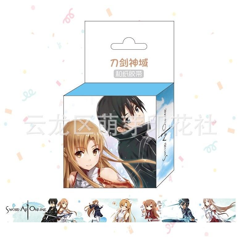 1.5cm*5m Anime Sword Art Online Cartoon Washi Tape Adhesive Tape DIY Scrapbooking Sticker Label Masking Tape