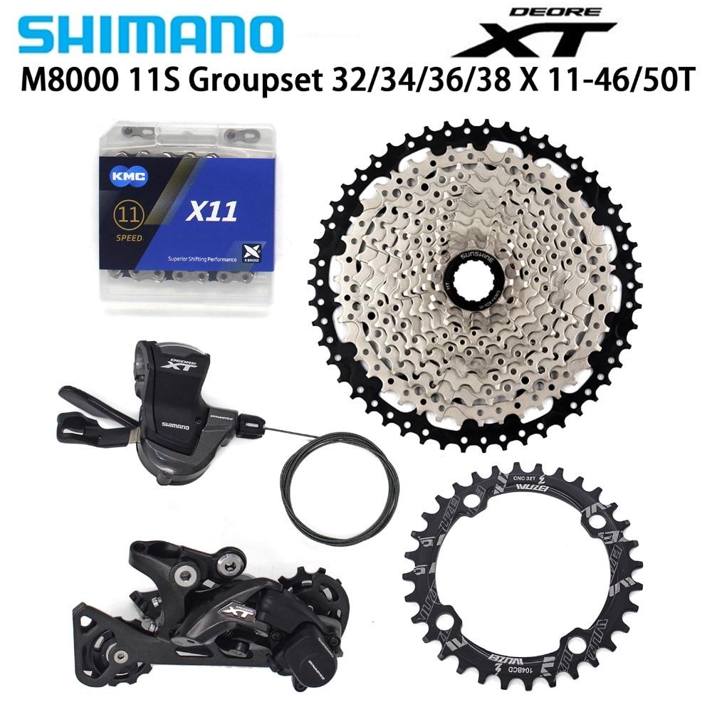 Shimano DEORE XT M8000 11 Speed bike Derailleurs 11 46 50T Cassette Chainring KMC X11 Chain