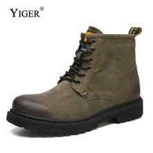 YIGER New Men Martins Boots Retro Man Tooling boots Lace-up Casual men shoes Leisure Cowboy High-top winter fur 181